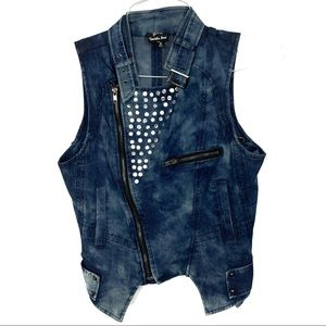 Double zero Studded Jean vest